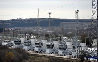 Mobile gas turbine power plant working to provide electricity in Stroganovka village outside Simferopol, Crimea