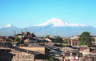 View of Armenian capital Yerevan and Mount Ararat