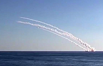 The Kalibr sea-launched cruise missile salvo from the Rostov-on-Don submarine on targets of the Islamic State