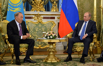 President of Kazakhstan Nursultan Nazarbayev and Russian President Vladimir Putin