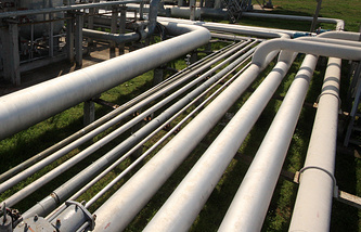 A view of gas pipelines on the premises of the Glebovsky underground gas storage facility of Chernomorneftegaz gas producer