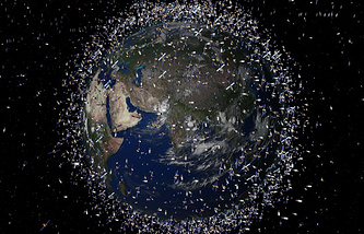 Computer generated image showing artist's impression of debris objects in low-Earth orbit