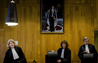 Judges prior to the civil case of the Russian Federation against Yukos Universal in Permanent Court of Arbitration in The Hague, the Netherlands