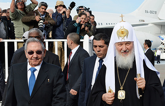 Cuban leader Raul Castro and Patriarch Kirill of Moscow and All Russia