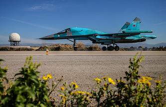 A Russian warplane at the Hmeimim air base in Syria