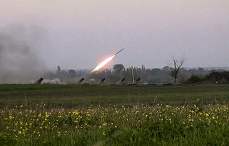 A Grad missile is fired by Azerbaijani forces in the village of Gapanli, Azerbaijan