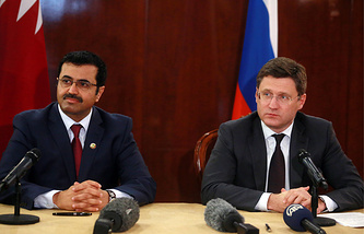 Qatar's Energy Minister Mohammed Saleh Al Sada and Russia's Energy Minister Alexander Novak