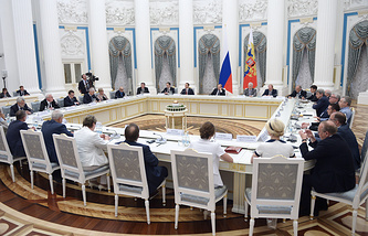Russian president Vladimir Putin at a meeting with representatives of the All-Russian Historical Assembly