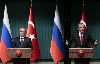 Presidents of Russia and Turkey, Vladimir Putin and Recep Tayyip Erdogan