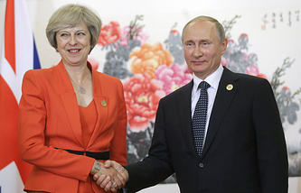 UK Prime Minister Theresa May and Russia's President Vladimir Putin