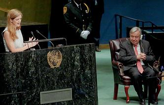 UN Ambassador Samantha Power and UN Secretary-General-designate, Antonio Guterres