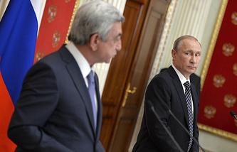 Armenian President Serzh Sargsyan and Russian president Vladimir Putin
