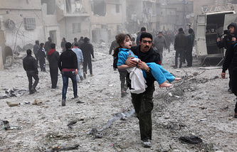 Aftermath of an airstrike in Aleppo, Syria