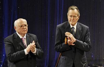 Former Soviet leader Mikhail Gorbachev and ex-US President George H. W. Bush, 2009