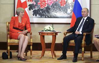 UK Prime Minister Theresa May and Russian President Vladimir Putin