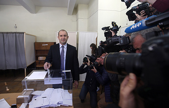 Rumen Radev casts his ballot at the polling station in Sofia, Bulgaria
