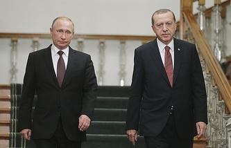 Russian President Vladimir Putin and Turkish President Recep Tayyip Erdogan