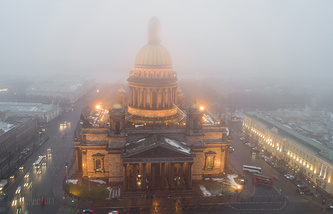 St. Isaac's Cathedral seen in fog in St.Petersburg