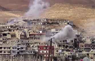 Shelling on Wadi Barada, northwest of Damascus