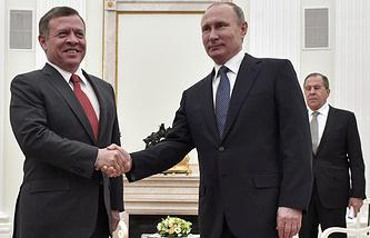 Jordan's King Abdullah II and Russian President Vladimir Putin