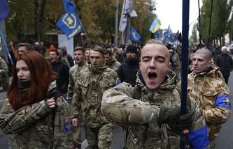 Members of Ukraine's nationalist movement