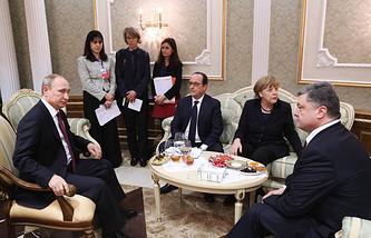 Normandy Four countries' leaders, Russia's president Vladimir Putin, France's president Francois Hollande, Germany's chancellor Angela Merkel and Ukraine's president Petro Poroshenko, 2015