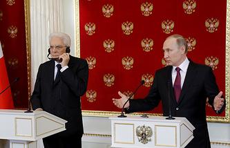 Italian and Russian presidents, Sergio Mattarella and Vladimir Putin