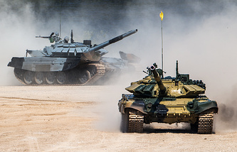 Serbia's and Russia's tanks at Alabino Firing Range in Moscow region