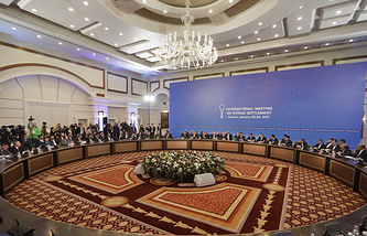 Delegations of Russia, Iran and Turkey at Syrian peace talks in Astana, Jan. 23, 2017