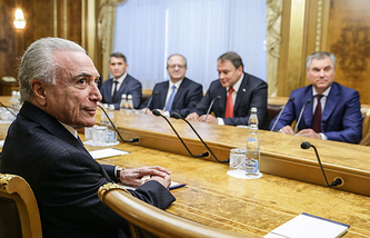 Brazil's President Michel Temer and Russian State Duma Chairman Vyacheslav Volodin