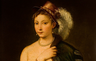Portrait of a young woman with feather hat, 1536 by Titian