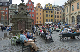 Stortorget Square in the Old Town of Stockholm, Sweden