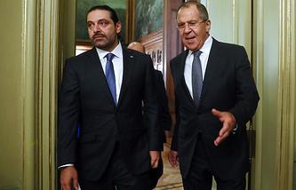 Lebanon's Prime Minister Saad Hariri and Russia's Foreign Minister Sergei Lavrov
