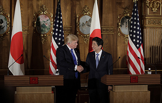 US President Donald Trump  and Japan's Prime Minister Shinzo Abe
