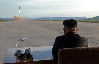 North Korean leader Kim Jong Un is watching the launch of a ballistic missile on September 16, 2017