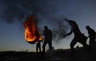 Palestinians in the city of Ramallah during a protest against the recognition of Jerusalem as the capital of Israel