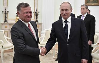 King Abdullah II of Jordan and Russian President Vladimir Putin