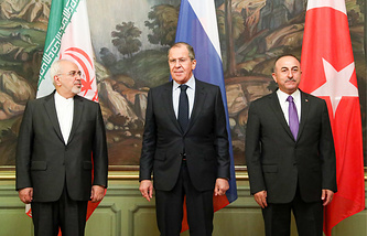 Iran's Foreign Minister Mohammad Javad Zarif, Russia's Minister of Foreign Affairs Sergey Lavrov and Turkey's Foreign Minister Mevlut Cavusoglu