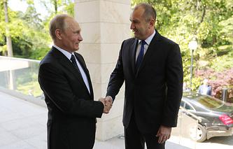 Russian President Vladimir Putin and Bulgarian President Rumen Radev