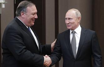 US Secretary of State Mike Pompeo and Russian President Vladimir Putin