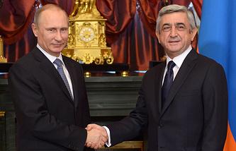 Президент РФ Владимир Путин и президент Армении Серж Саргсян