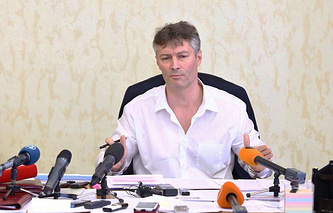 Мэр Екатеринбурга Евгений Ройзман во время пресс-конференции
