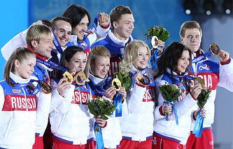 Церемония награждения российских фигуристов
