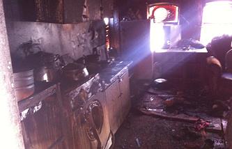 Последствия пожара в частном доме в поселке Алтынай