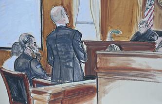 Абу Анас аль-Либи (второй слева) в зале суда