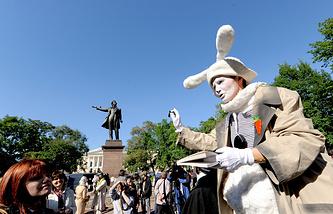 Акция, посвященная годовщине со дня рождения А.С. Пушкина в Санкт-Петербурге