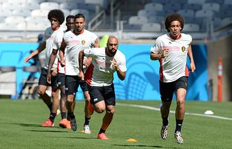 Футболисты сборной Бельгии на тренировке