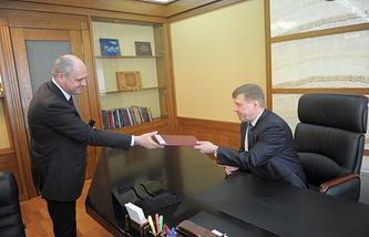 Первый заммэра Андрей Ксензов и мэр Новосибирска Анатолий Локоть