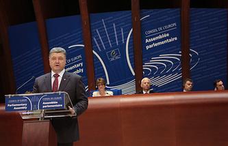 Президент Украины Петр Порошенко во время выступления на заседании Парламентской ассамблеи Совета Европы