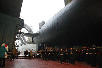 """Вывод из цеха подводного крейсера стратегического назначения """"Владимир Мономах"""""""
